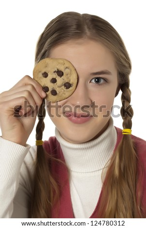 Portrait of woman making fun with chocolate cookies against white background - stock photo