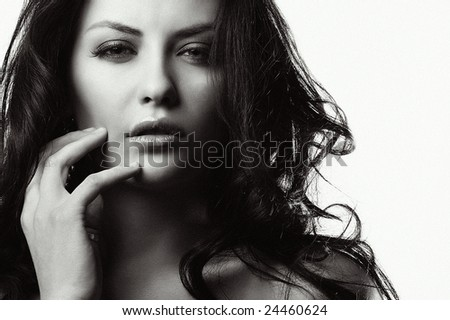 portrait of woman on white - stock photo