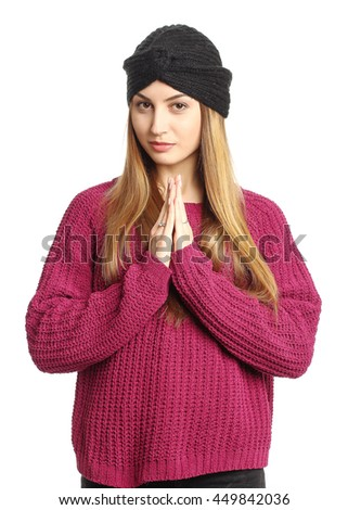 Portrait of woman on white background wearing cool hat