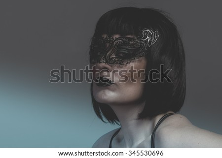 portrait of woman with black mask thread Venetian