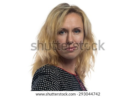 Portrait of woman with blond hair, half turned on white background - stock photo