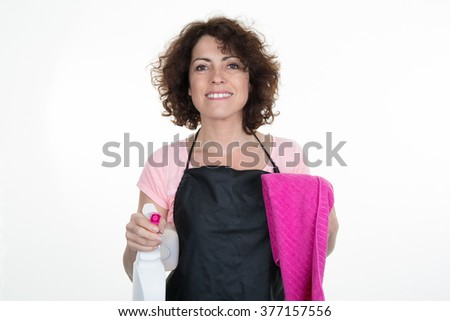 Portrait of woman with  cleaning equipment isolated on a white