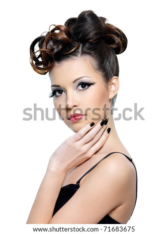 Portrait of woman with fashion hairstyle and and bright make-up with false eyelash - isolated - stock photo