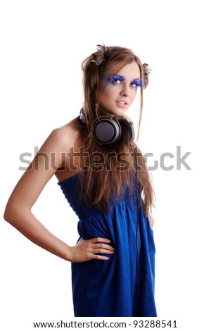 portrait of woman with fashion makeup and blue eyelashes, isolated on white