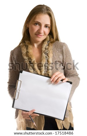 Portrait of woman with folder and pencil. Isolated on white.