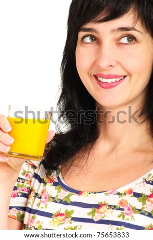 Portrait of woman with orange juice glass isolated on white