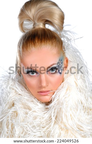 Portrait of woman with winter make up
