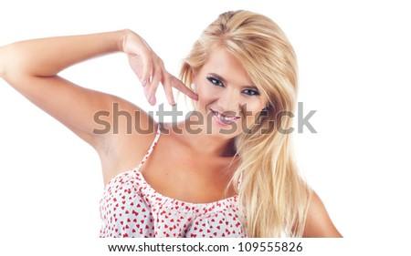 Portrait of wonderful blond women, studio shot - stock photo