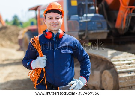 Portrait of worker in a construction site