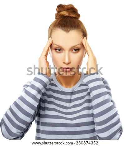Portrait of worried woman with her hand on forehead.Headache.White background - stock photo