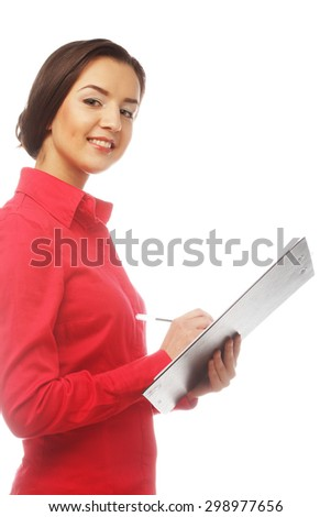 Portrait of writing businesswoman, isolated on white - stock photo