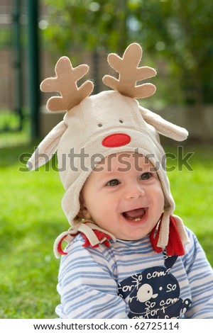 Portrait of 1 year old kid. - stock photo