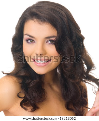 Portrait of 20-25 years old beautiful woman on white