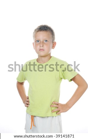 portrait of 7 years old boy on white background teeth