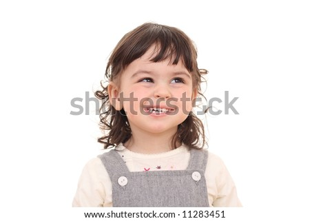 portrait of 2 years old girl isolated on white - stock photo