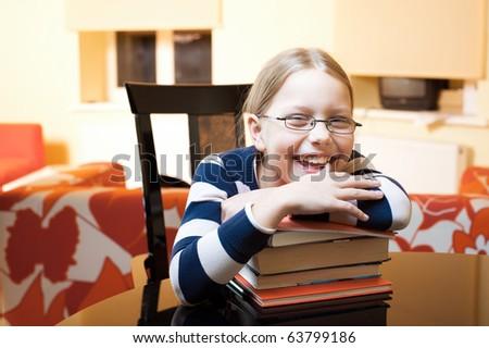 Portrait of 9-10 years old schoolgirl - stock photo