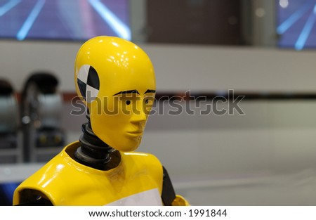 portrait of yellow crash test dummy - stock photo