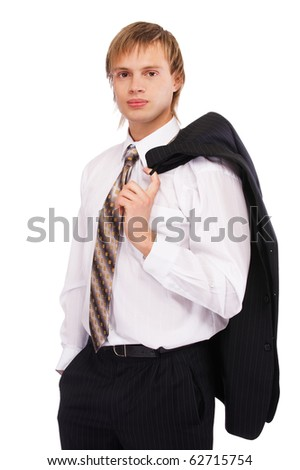 portrait of youn blond man in suit on white - stock photo