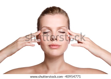 Portrait of young adult woman touching with her hand the healthy skin - stock photo