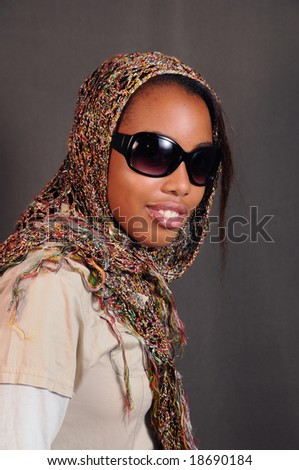 Portrait of young african american fashion woman - stock photo
