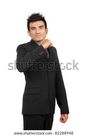 portrait of young ambitious businessman - stock photo