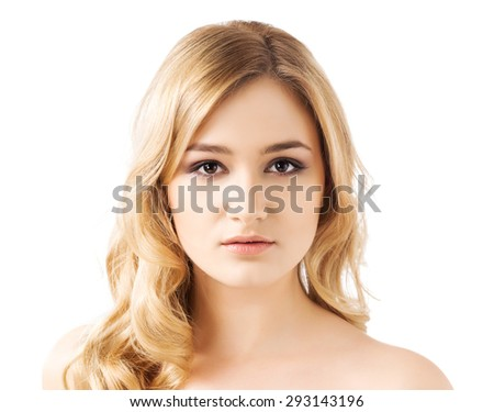 Portrait of young and beautiful teenage girl isolated on white - stock photo