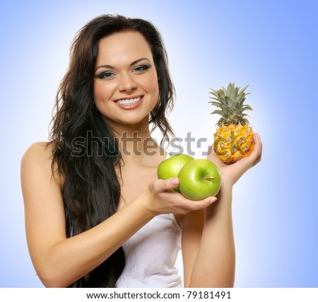 Portrait of young and healthy woman as dieting concept - stock photo