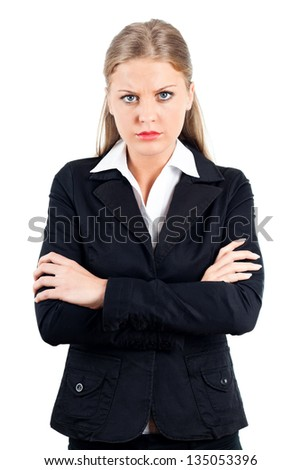 Portrait of young angry business woman,Angry businesswoman - stock photo