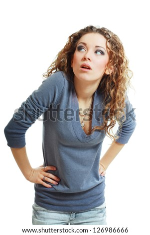 Portrait of young anxious student girl in suit shocked, looking sideways, isolated on white background - stock photo