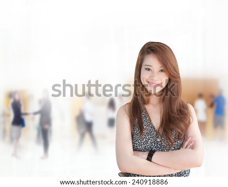 Portrait of young asia business woman in her office,Mixed Asian / Caucasian businesswoman.