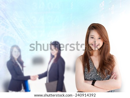 Portrait of young asia business woman 20-30 year in her office  - stock photo