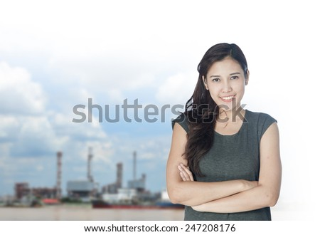 portrait of young asia businesswoman 20  - 30 year old has oil industry.office.Mixed Asian / Caucasian businesswoman. Positive emotion - stock photo