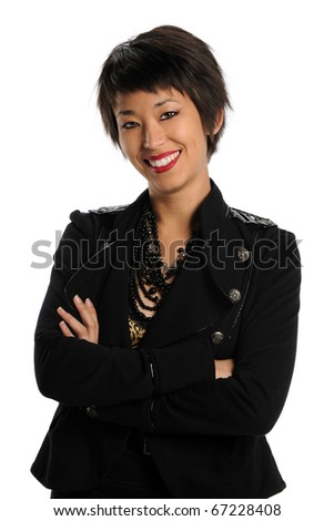 Portrait of young Asian American businesswoman smiling isolated over white background - stock photo