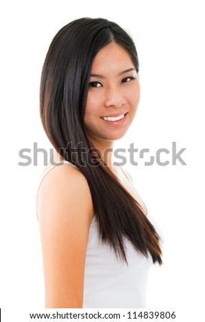 Portrait of young Asian girl over white background - stock photo
