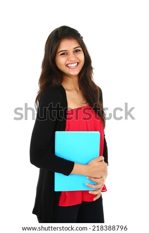 Portrait of young Asian/Indian student, isolated on white background.