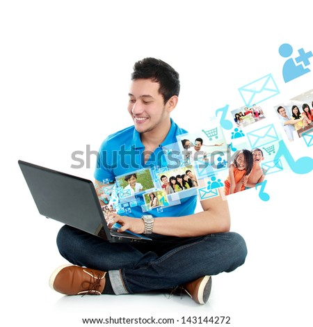 portrait of young asian man study using laptop isolated over white background