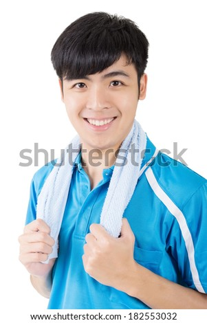 Portrait of young Asian sport man with a towel on white background.