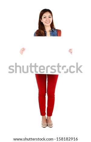 Portrait of young Asian student with a sign board, isolated on white background - stock photo