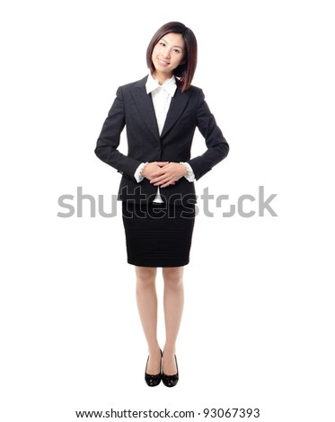 portrait of young asian woman smile standing isolated on white background, model is a asian beauty - stock photo