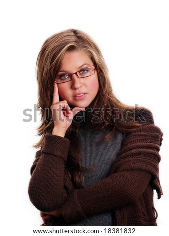 portrait of young attractive female isolated on white background - stock photo