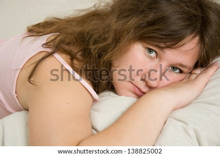 portrait of young awaking woman - stock photo