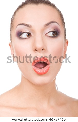 Portrait of young beautiful brunette woman on white background in photo studio
