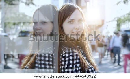 portrait of young beautiful caucasian women. attractive female person background - stock photo