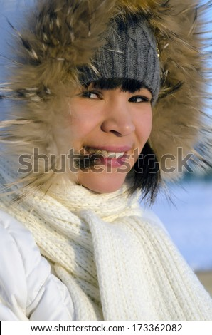 Portrait of young beautiful Chukchi woman  - stock photo
