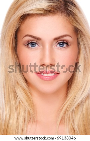 Portrait of young beautiful fresh healthy smiling blond girl with natural clear make-up - stock photo