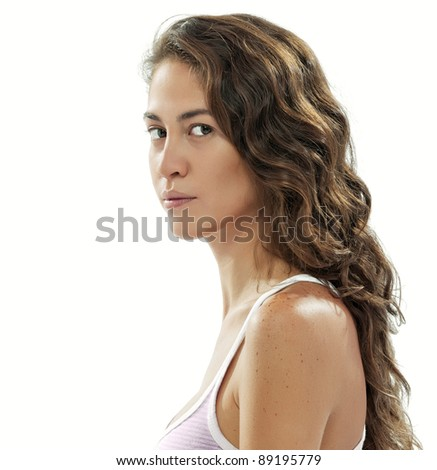 portrait of young beautiful girl on  white back - stock photo