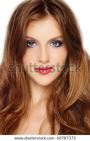 Portrait of young beautiful girl with gorgeous long hair - stock photo