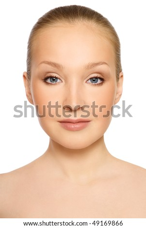 Portrait of young beautiful healthy blond woman - stock photo