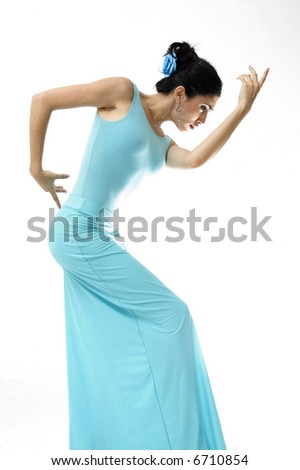 Portrait of young beautiful hispanic dancer girl isolated on white - stock photo
