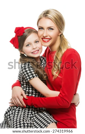 Portrait of young beautiful mother and daughter hugging each other. Isolated over white background. - stock photo